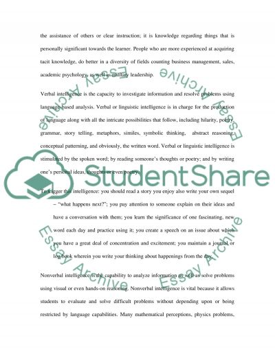 Intelligence Essay essay example
