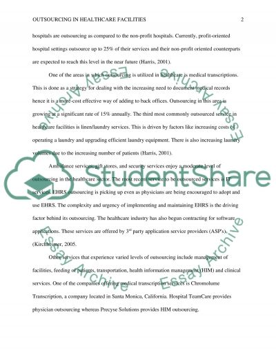 Outsourcing in healthcare facilities essay example