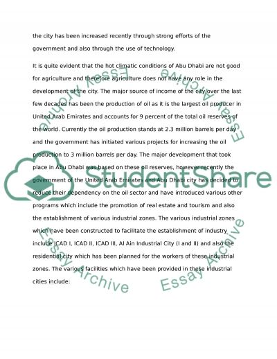 Abu-Dhabi Development UAE Essay example