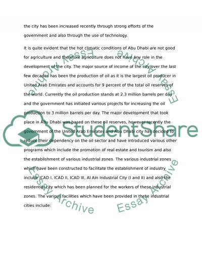 Abu-Dhabi Development UAE essay example