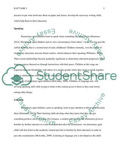 EAT task 2: SUBDOMAIN 602.8 - TEACHING METHODS LITERACY & ELEMENTARY READING