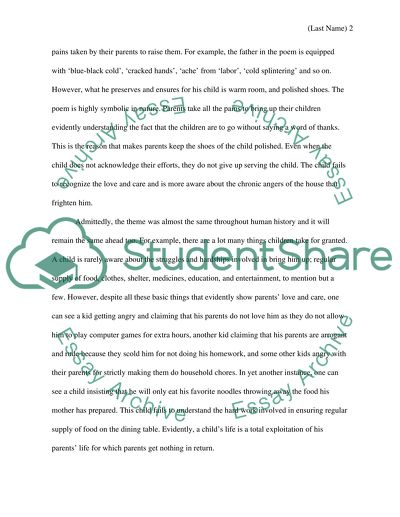 English Essay Internet The Poem Those Winter Sundays Hamlet Essay Thesis also Religion And Science Essay The Poem Those Winter Sundays Essay Example  Topics And Well  Synthesis Essay