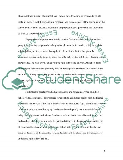 Classroom Management: Setting Expectations essay example