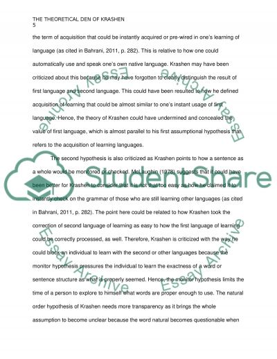 summary of krashen essay First of all, this essay will provide definitions of the two ways in which a learner  can  after having gained a general overview of krashen's monitor model,.