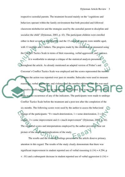 Dykeman Article essay example