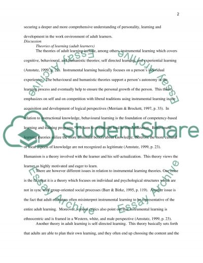 Personality, Learning and Development: Working Environment Essay example