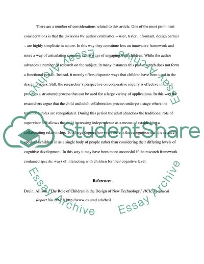 Reaction paper to the article The Role of Children in the Design of New Technology