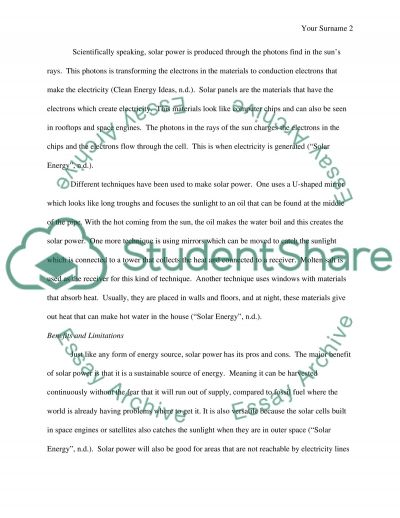 Research paper solar power