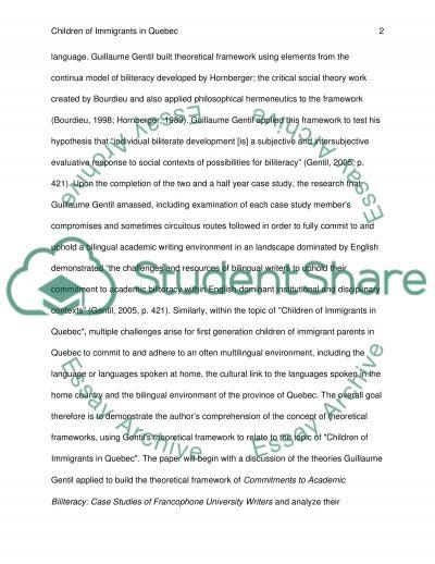 Children of Immigrants in Qubec - Theoretical Framework essay example