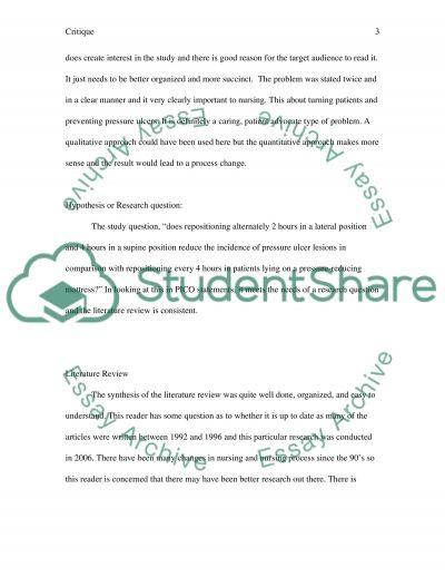 Nursing:Research critique part 2 essay example