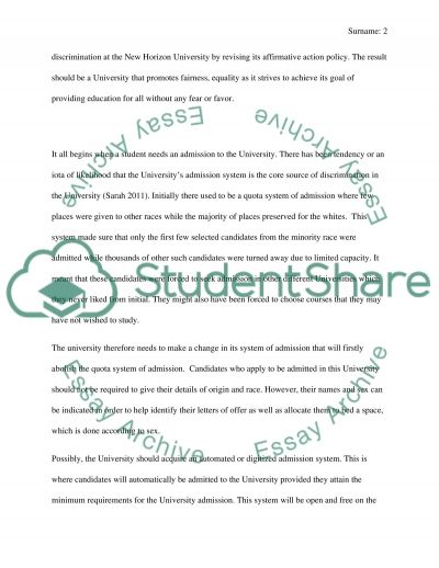 Solution for Discrimination in the University essay example