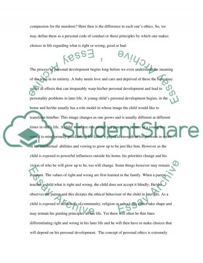 Personal development and ethics essay example