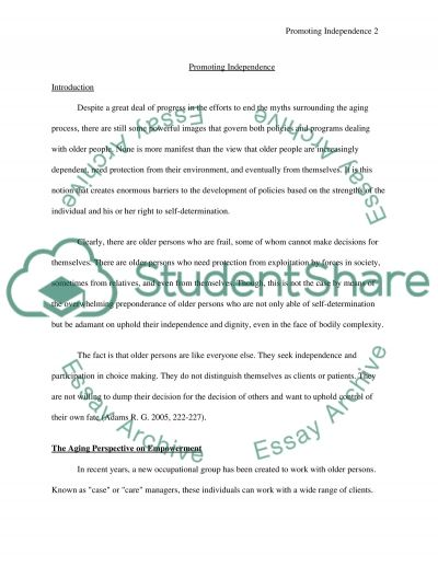 Promoting Independence Essay essay example