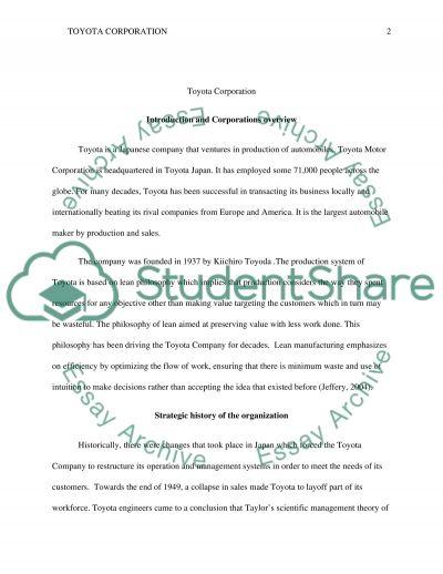 TOYOTA Corporation essay example