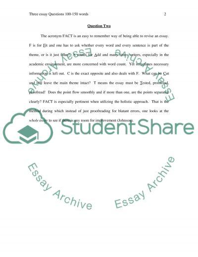Three essay Questions 100-150 words