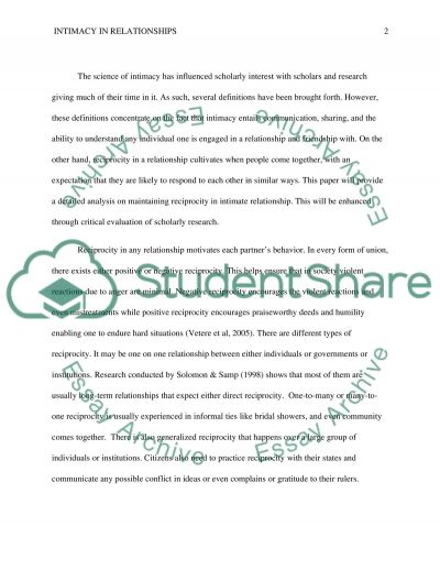 How to Maintain Reciprocity in Intimate Relationships essay example