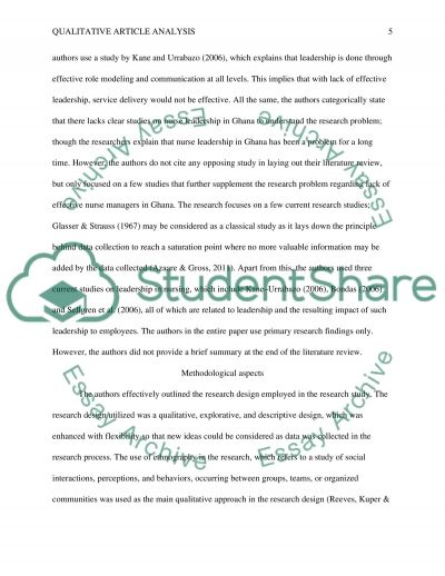 article critique paper qualitative research Critiquing qualitative research using five standards standard 1:descriptive vividness the site, subjects (informants) , experience of collecting data, and thinking of.