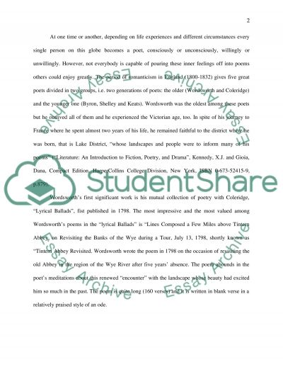 Wordsworths Tintern Abbey essay example