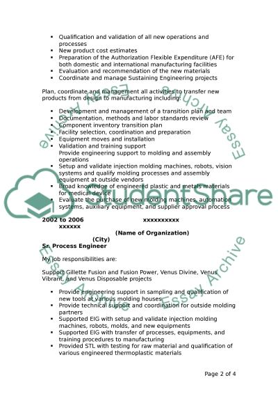 Resume essay example