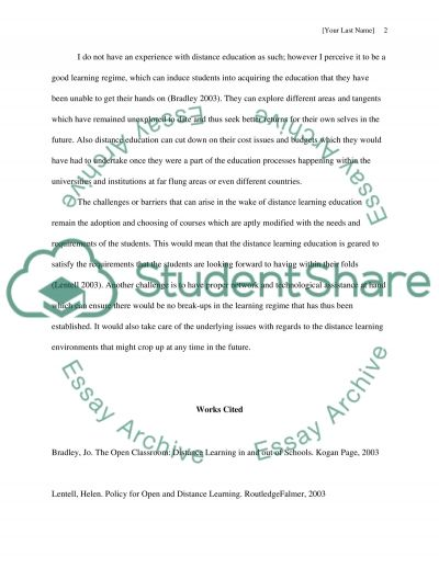 Distance Learning essay example