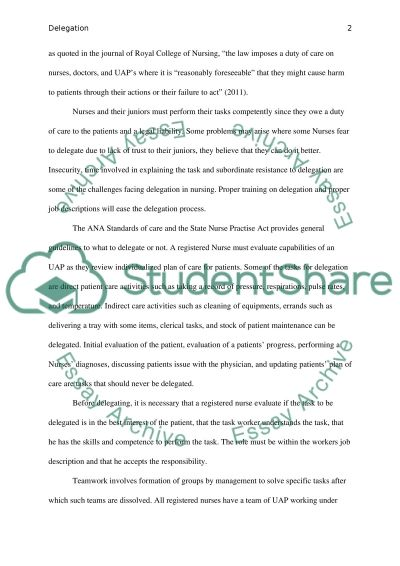 Delegation in Nursing essay example