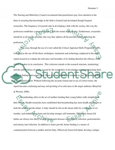 Qualitative Research critique essay example