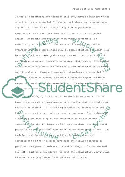 HRM effectiveness essay example