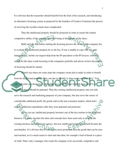 Intellectual property essay example