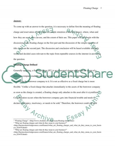 The Floating Charge essay example