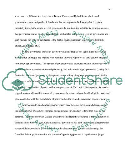 Comparative Federalism Essay Example  Topics And Well Written  Comparative Federalism
