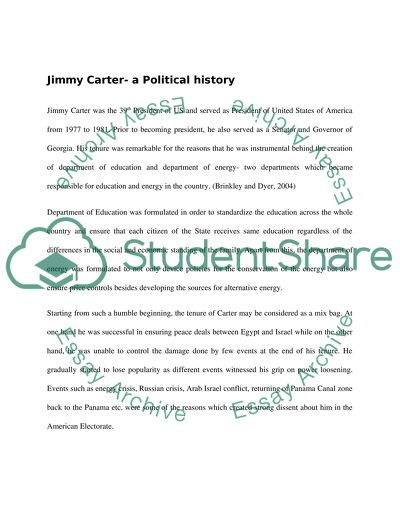 Discuss the reason why Jimmy Carter was so unpopular with the US electorate