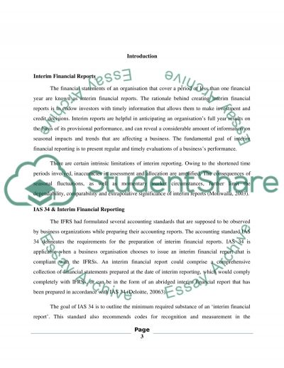 Interim Financial Reporting essay example
