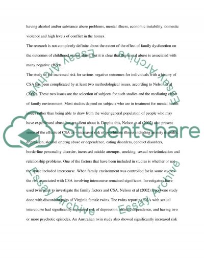 Psychology: Childhood sexual abuse essay example
