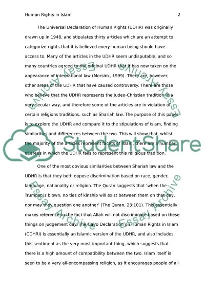 Human Rights in Islam essay example