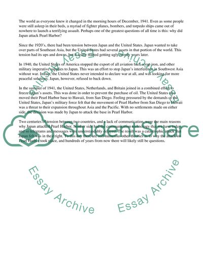 Pearl harbor thesis paper
