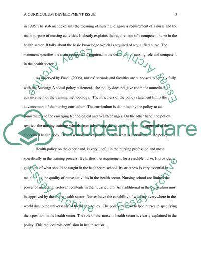 A Curriculum Development Issue