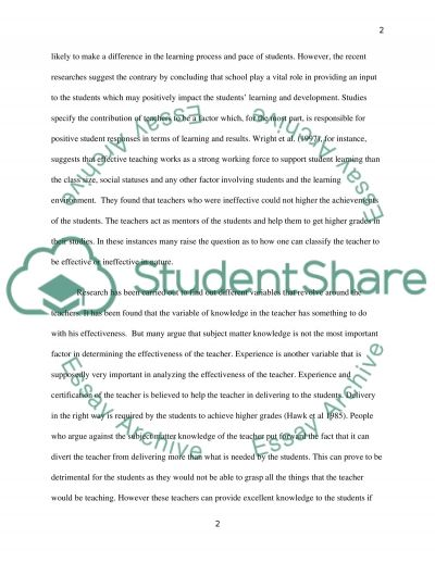 The Relationship between Teacher Quality and Students Results essay example