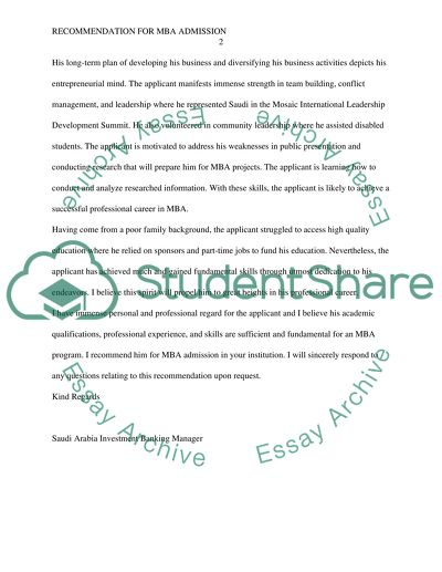 Mba Recommendation Letter Sample from studentshare.org