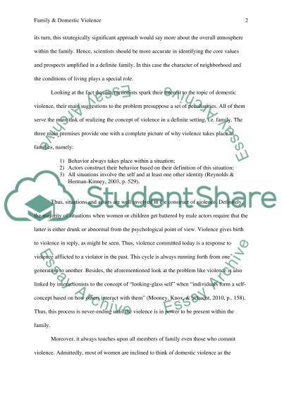 Essay about Domestic violence