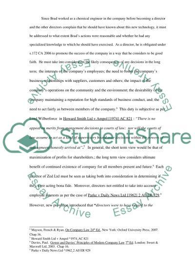 Company Law negligence essay example
