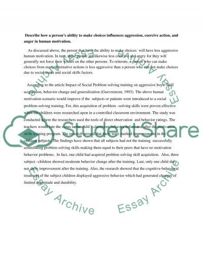 The human motivation essay example