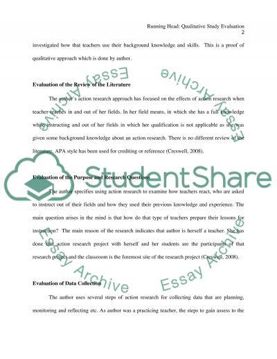 Qualitative Study Evaluation