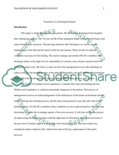 Transition of the patient that is discharged after a surgery and challenges they will face at home essay example