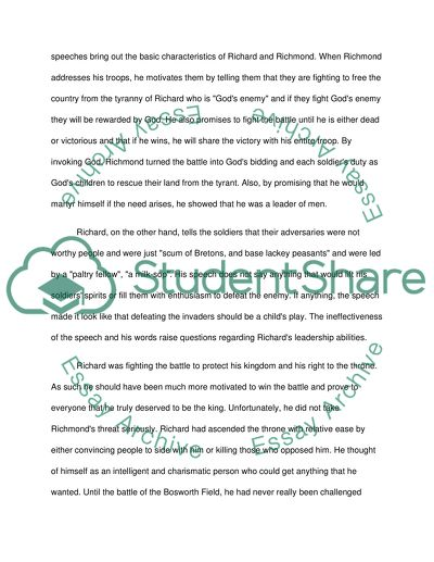 Essays On Business Ethics The Speeches Of Richmond And Richard In Shakespeares Richard Iii Thesis Statement Persuasive Essay also Essay On My Mother In English The Speeches Of Richmond And Richard In Shakespeares Richard Iii Essay Essay About Healthy Lifestyle