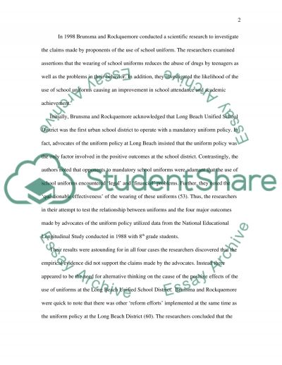 The concept of school uniforms essay example