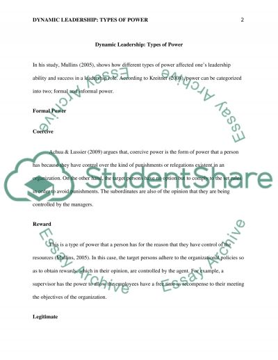 RE: Dynamic Leadership: Types of Power essay example