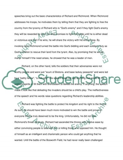 richard iiis battle speech essay We have been providing custom writing services for over 7 years we guarantee you 100% confidence, plagiarism free and high quality essays on a 24/7 basis.