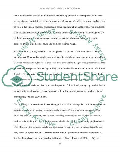 NTERNATIONAL SUSTAINABLE BUSINESS essay example