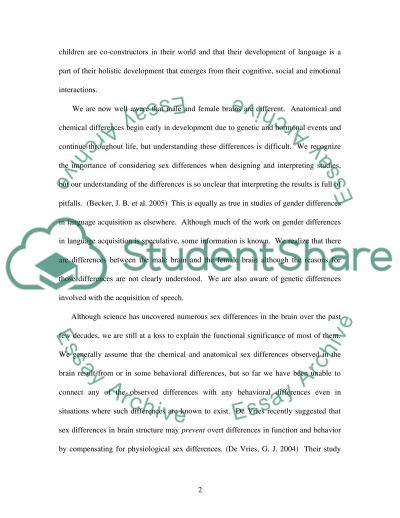 Gender Differences in Language Development essay example