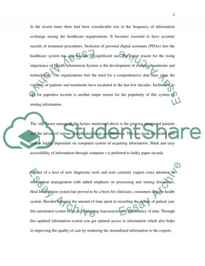 Health Information Systmes essay example